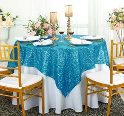 "72"" Square Sequin Taffeta Table Overlay - Turquoise 01885 (1pc/pk)"