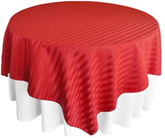 "72"" Square Striped Jacquard Polyester Table Overlays (7 Colors)"