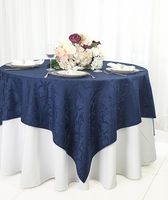 "72"" Square Versailles Damask Jacquard Polyester Table Overlays (14 colors)"