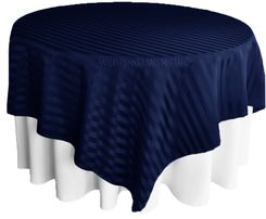 "72"" Striped Damask Jacquard Polyester Table Overlays - Navy Blue 86423 (1pc/pk)"