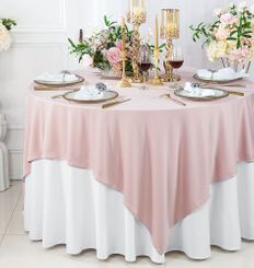 """72""""x 72"""" Seamless Square Scuba (Wrinkle-Free) Tablecloth / Table Overlay - Blush Pink 20815 (1pc/pk)"""