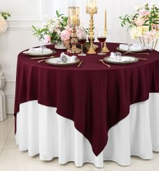 """72""""x 72"""" Seamless Square Scuba (Wrinkle-Free) Tablecloth / Table Overlay - Burgundy 20810 (1pc/pk)"""