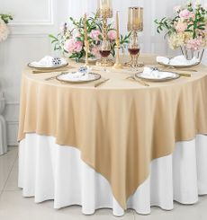 """72""""x 72"""" Seamless Square Scuba (Wrinkle-Free) Tablecloth / Table Overlay - Champagne 20828 (1pc/pk)"""