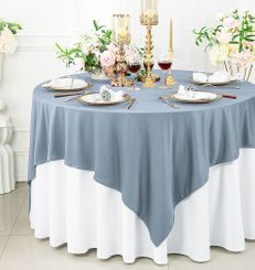 """72""""x 72"""" Seamless Square Scuba (Wrinkle-Free) Tablecloth / Table Overlay - Dusty Blue 20803 (1pc/pk)"""