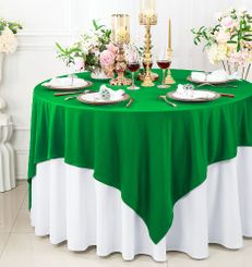 """72""""x 72"""" Seamless Square Scuba (Wrinkle-Free) Tablecloth / Table Overlay - Emerald Green 20838 (1pc/pk)"""