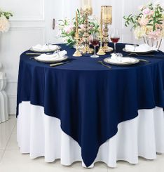 """72""""x 72"""" Seamless Square Scuba (Wrinkle-Free) Tablecloth / Table Overlay - Navy Blue 20823 (1pc/pk)"""