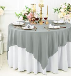 """72""""x 72"""" Seamless Square Scuba (Wrinkle-Free) Tablecloth / Table Overlay - Silver 20840 (1pc/pk)"""