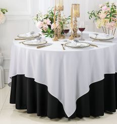 """72""""x 72"""" Seamless Square Scuba (Wrinkle-Free) Tablecloth / Table Overlay - White 20801 (1pc/pk)"""