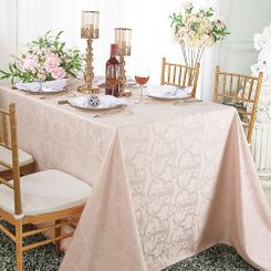 "72""x120"" Rectangular Versailles Chopin Damask Jacquard Polyester Tablecloths (14 colors)"