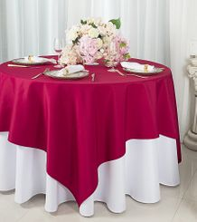 """72""""x72"""" Square Polyester Table Overlay Toppers - Apple Red 52408 (1pc/pk)"""