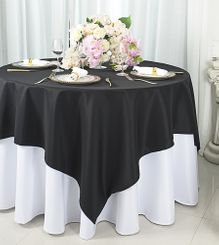 """72""""x72"""" Square Polyester Table Overlay Toppers - Black 52439 (1pc/pk)"""