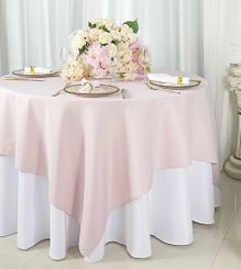 """72""""x72"""" Square Polyester Table Overlay Toppers - Blush Pink 52415 (1pc/pk)"""
