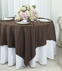 """72""""x72"""" Square Polyester Table Overlay Toppers - Chocolate 52491 (1pc/pk)"""