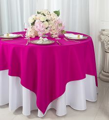 """72""""x72"""" Square Polyester Table Overlay Toppers - Fuchsia 52409 (1pc/pk)"""