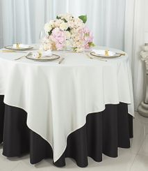 """72""""x72"""" Square Polyester Table Overlay Toppers - Ivory 52402 (1pc/pk)"""