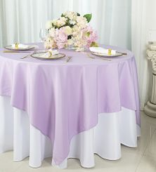 """72""""x72"""" Square Polyester Table Overlay Toppers - Lavender 52411 (1pc/pk)"""