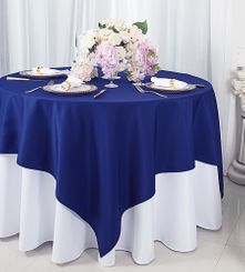 """72""""x72"""" Square Polyester Table Overlay Toppers - Navy Blue 52423 (1pc/pk)"""