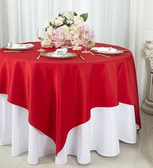 """72""""x72"""" Square Polyester Table Overlay Toppers - Red 52412 (1pc/pk)"""