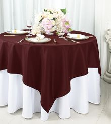 """72""""x72"""" Square Polyester Table Overlay Toppers - Burgundy 52410 (1pc/pk)"""