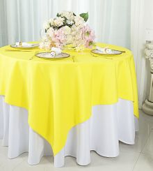"""72""""x72"""" Square Polyester Table Overlay Toppers - Canary Yellow 52416 (1pc/pk)"""