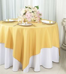"""72""""x72"""" Square Polyester Table Overlay Toppers - Gold 52427 (1pc/pk)"""