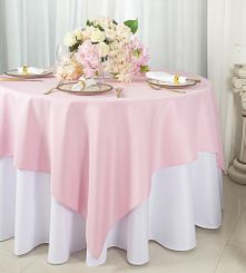 """72""""x72"""" Square Polyester Table Overlay Toppers - Pink 52405 (1pc/pk)"""