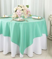 """72""""x72"""" Square Polyester Table Overlay Toppers - Tiff Blue / Aqua Blue 52418 (1pc/pk)"""