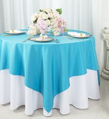 """72""""x72"""" Square Polyester Table Overlay Toppers - Turquoise 52485 (1pc/pk)"""