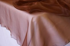 "72"" Square Crystal Organza Table Overlay - Chocolate (1pc/pk)"