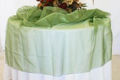 "72"" Square Crystal Organza Table Overlay - Clover Green 53748 (1pc/pk)"
