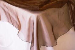 """72"""" Square Organza Table Overlay - Chocolate 52091 (1pc/pk)"""