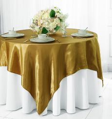"72"" Square Satin Table Overlays - Antique Gold 51129 (1pc/pk)"