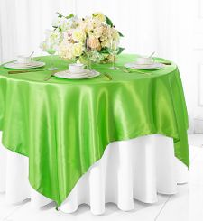 "72"" Square Satin Table Overlays - Apple Green 51137 (1pc/pk)"