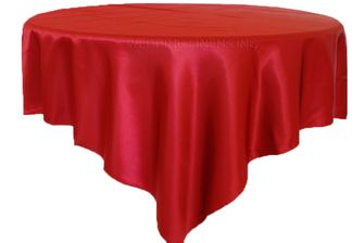 """72"""" Square Satin Table Overlays - Apple Red 51108 (1pc/pk)"""
