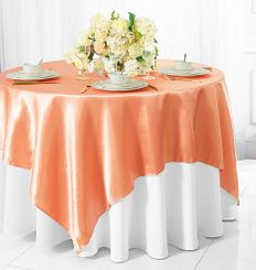 "72"" Square Satin Table Overlays - Apricot / Peach 51131 (1pc/pk)"