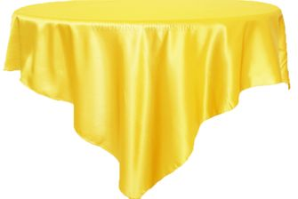 """72"""" Square Satin Table Overlays - Canary Yellow 51116 (1pc/pk)"""