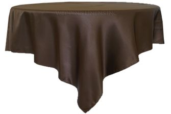 "72"" Square Satin Table Overlays - Chocolate 51191 (1pc/pk)"