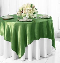"72"" Square Satin Table Overlays - Clover Green 51148 (1pc/pk)"