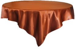 "72"" Square Satin Table Overlays - Cognac 51157 (1pc/pk)"