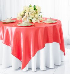 "72"" Square Satin Table Overlays - Coral 51106 (1pc/pk)"