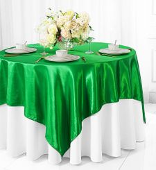 "72"" Square Satin Table Overlays - Emerald Green 51138 (1pc/pk)"