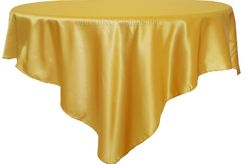 "72"" Square Satin Table Overlays - Gold 51127 (1pc/pk)"