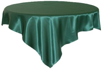 """72"""" Square Satin Table Overlays - Holly Green / Hunter Green 51119 (1pc/pk)"""