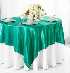 "72"" Square Satin Table Overlays - Jade 51126 (1pc/pk)"