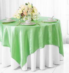 "72"" Square Satin Table Overlays - Mint Green 51134 (1pc/pk)"