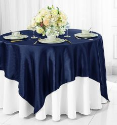 "72"" Square Satin Table Overlays - Navy Blue 51123 (1pc/pk)"