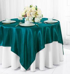"72"" Square Satin Table Overlays - Peacock 51159 (1pc/pk)"