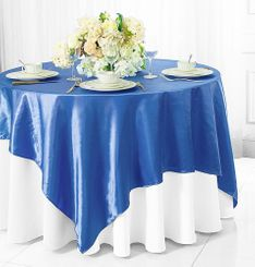 "72"" Square Satin Table Overlays - Periwinkle / Cornflower 51125 (1pc/pk)"