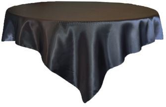 """72"""" Square Satin Table Overlays - Pewter 51160 (1pc/pk)"""