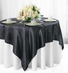 "72"" Square Satin Table Overlays - Pewter / Charcoal 51160 (1pc/pk)"